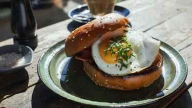 Bacon and egg butty at The Little Kitchen, Coogee