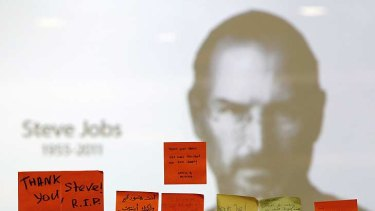 Tributes to the late Steve Jobs posted at an Apple Store in Kuala Lumpur.