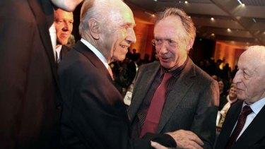 Prized ... Ian McEwan, centre, with Israeli President Shimon Peres.