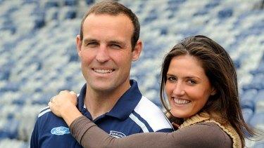 Brad Ottens with his partner, Sarah Wynn, yesterday.