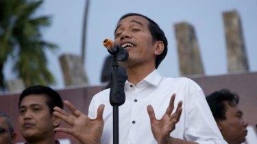 Jokowi speaks to supporters on Wednesday.