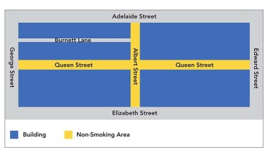 Designated smoke-free zones in the Queen Street Mall.