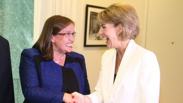 Minister for Women Michaelia Cash congratulates Kate Jenkins on her appointment as the new Sex Discrimination Commissioner on Thursday.