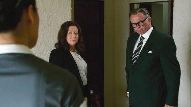 Mandy McElhinney as Gina Rinehart and Sam Neil as Mrs Rinehart's father Lang Hancock in part one of  Channel Nine's <i>House of Hancock</i>.