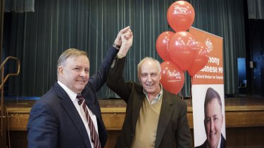 Paul Keating with Labor frontbencher Anthony Albanese at the rally in Sydney on Saturday.