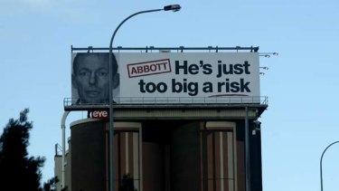 The latest Labor attack ad near the Anzac Bridge.