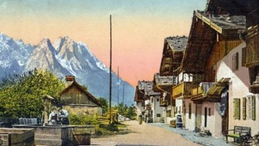 Home town: A painted photographic postcard of Garmisch, where Strauss lived.