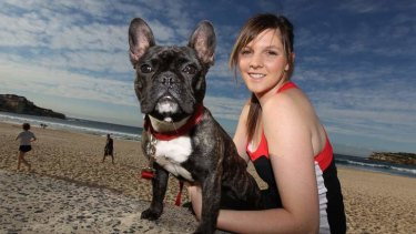 Rachael Anderson and Darci, a French bulldog, at the beach. A survey commissioned by the Animal Health Alliance found there were 4.2 million pet dogs in Australia.