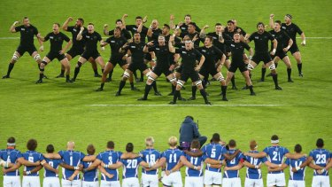 Real deal: The All Blacks perform the haka before their World Cup match against Namibia.