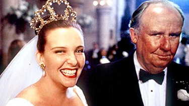 Toni Collette and Bill Hunter in <em>Muriel's Wedding</em>.