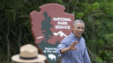 On the warpath: President Barack Obama visits the Everglades National Park in Florida.