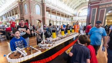 Lego pieces on display at the Royal Exhibition Building.