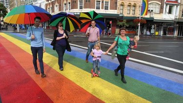 Photogenic: The rainbow crossing across Oxford Street.