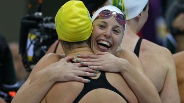 Golden girls ... the Australian team won the 4x100m relay final.