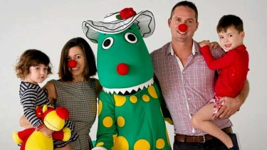 """Eugenie Pepper, seen here with children Chloe, and Tommy, husband Shane and Dorothy the Dinosaur,  co-owns Plum, which sells kids and baby fashion. """"Five per cent of the sales of our sleep bags goes to SIDS and Kids"""", she says."""