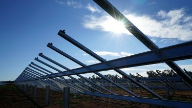 Lining up: AGL's Nyngan solar array awaits PV panels.