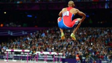 Jumping for joy ... Felix Sanchez.