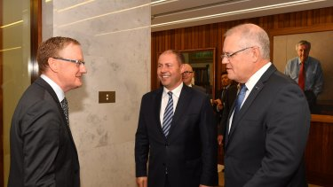 Prime Minister Scott Morrison and Treasurer Josh Frydenberg meet with the RBA Governor.