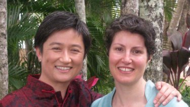 ''I am a public figure and these sorts of things come with the territory. But she's not'' ... Penny Wong with her partner, Sophie Allouache.