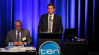 Lachlan Murdoch at the 2013 Ten annual meeting when he was chairman. Those were the days!