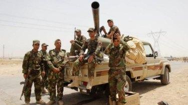Members of the Peshmerga on the outskirts of Kirkuk.