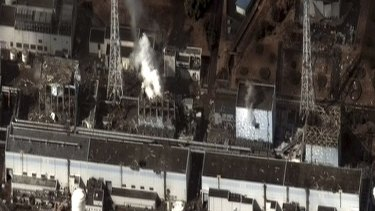 A satellite image shows the extent of damage to the Fukushima nuclear plant.