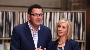 Labor leader Daniel Andrews with his wife Catherine has pledged to breath test MPs should he win the Victorian election.