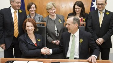 The Greens sign off on a deal in support of the Australian Labor Party in 2010.