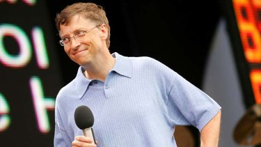 US software billionaire Bill Gates addresses the crowd during the Live8 concert in Hyde Park, London.