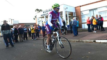 On his bike: Tony Abbott at the Pollie Peddle ride in Merino.
