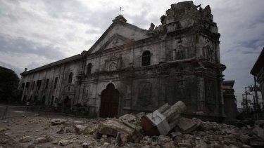 A view of the damaged Basilica Minore of Sto Nino de Cebu.