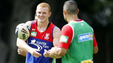 Alex McKinnon training with the  Knights this month.