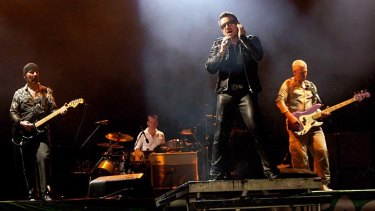 Adam Clayton, Bono Larry Mullen Jr and The Edge of U2 perform at the Glastonbury Festival at Worthy Farm, England.