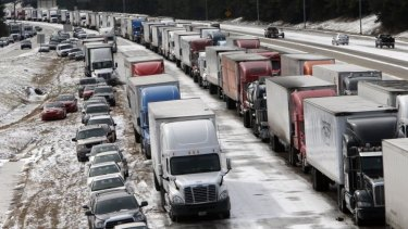 Traffic at a standstill in Birmingham, Alabama after a winter storm that was wider and more severe than many officials expected.