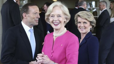 Prime Minister Tony Abbott with Governor-General Quentin Bryce and Foreign minister Julie Bishop at Government House.