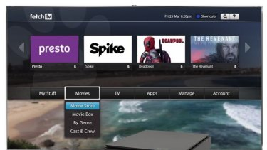 The slick Fetch TV interface lays out your entertainment options.