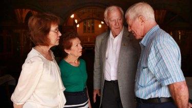 Bruised: Mari Palomares, Carmen Kapfenstein, Monsignor Tony Doherty and Barrie Lum.