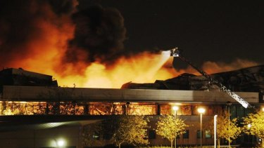 Sony blaze .... fire destroys a warehouse in north London.