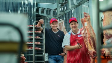 Tasman Meats' Matt Swindells (left) changed his stores so Aldi trolleys could fit.