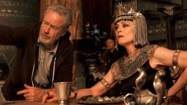 Director Ridley Scott with Sigourney Weaver (Tuya) on the set of <i>Exodus: Gods and Kings</i>.