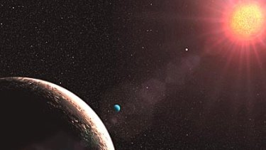 An artist's impression of Gliese 581e, forground left, released by the European Organisation for Astronomical Research in the Southern Hemisphere.