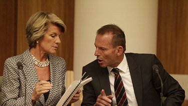 At odds ... Julie Bishop and Tony Abbott meet with the shadow cabinet gathered on the eve of the resumption of Federal Parliament yesterday.