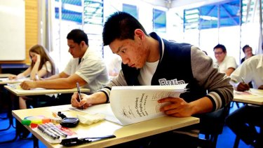 Focused ... Aengus Tran from Sydney Secondary College sits the HSC English exam.