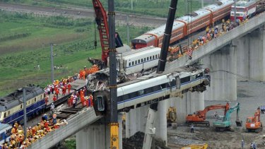 Tragic end ... but China's railway ministry says it still has faith in the high-speed train system.