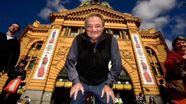 Tales to tell: Former newsboy Angelo Diiorio at his old stomping ground under the Flinders Street Station clocks.