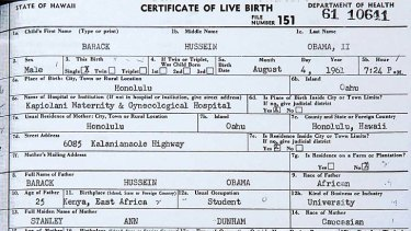 Disputed evidence . . . President Obama's birth certificate.