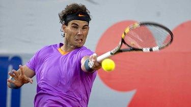 Rafael Nadal plays a forehand against Argentine Horacio Zeballos.