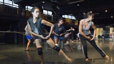 Bangarra Patyegarang rehearsals Nicola Sabatino, Elma Kris & Jasmin Sheppard photo by Jessica Bialek