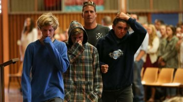 Grief: The boys who brought Zac to shore, Shayden Schrader, left, Kurt Gillan and Lindsy Isaac.