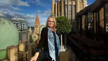 Maree Coote on the Manchester Unity penthouse balcony.
